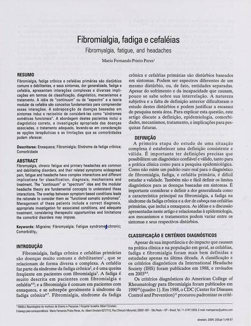 Tensional cabeça fibromialgia de dor